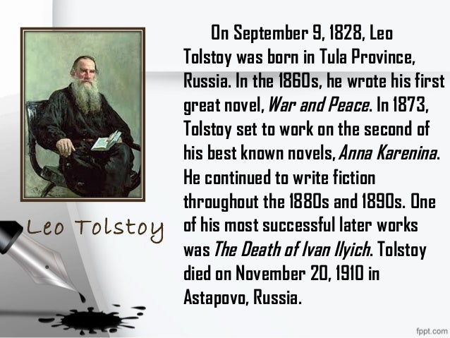 a look at the characters in the novel the death of ivan ilyich by leo tolstoy The narrator of ivan ilych gives us an intimate view into the characters' heads even if we barely know a character – as we barely know ivan's three friends at the beginning of the story, when we hear their thoughts after ivan's death – we get all the information we need in a story so concerned with the falsity of people and a.