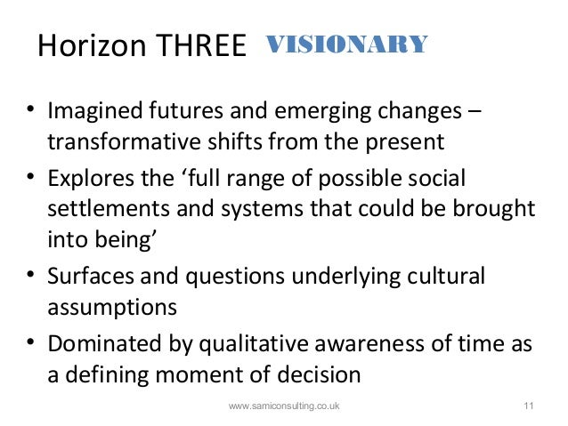 Horizon THREE www.samiconsulting.co.uk 11 • Imagined futures and emerging changes – transformative shifts from the present...
