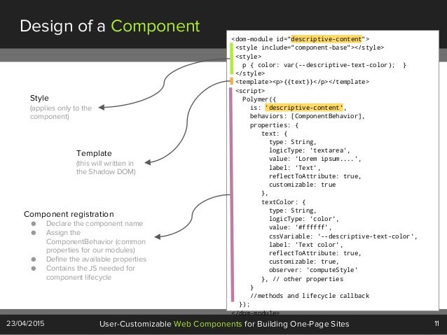 """11User-Customizable Web Components for Building One-Page Sites23/04/2015 Design of a Component <dom-module id=""""descriptive..."""