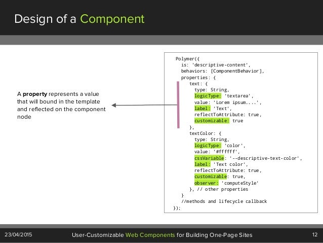 12User-Customizable Web Components for Building One-Page Sites23/04/2015 Design of a Component Polymer({ is: 'descriptive-...