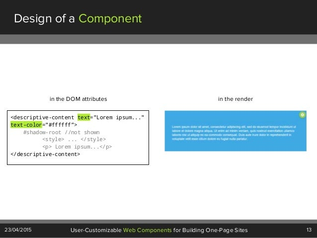 """13User-Customizable Web Components for Building One-Page Sites23/04/2015 Design of a Component <descriptive-content text=""""..."""