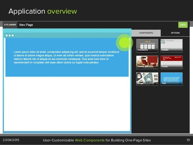 19User-Customizable Web Components for Building One-Page Sites23/04/2015 Application overview