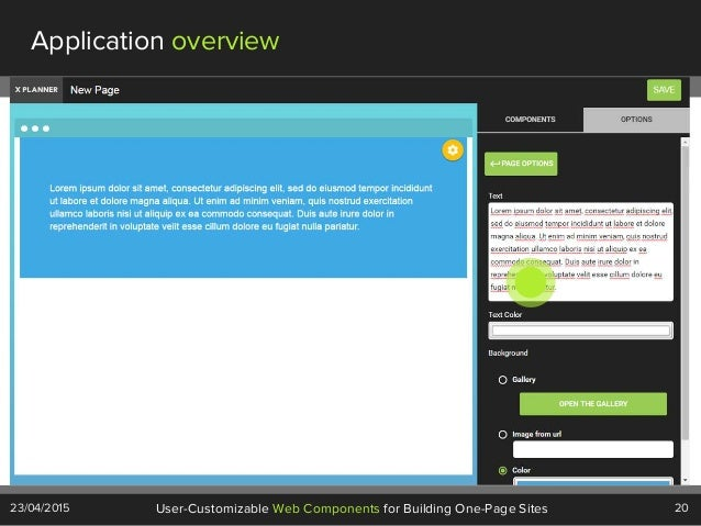 20User-Customizable Web Components for Building One-Page Sites23/04/2015 Application overview