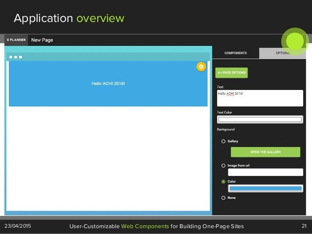 21User-Customizable Web Components for Building One-Page Sites23/04/2015 Application overview