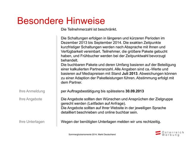 Rechnungsadresse Auftragsbestätigung Sommerglücksmomente. Markt Deutschland 2014 Österreich Werbung Deutschland, Klosterst...