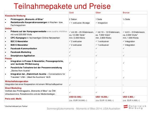 """Teilnahmepakete und Preise Gold Silber Bronze Klassische Werbung  Printmagazin """"Moments of Bliss""""  Redaktionelle Koopera..."""