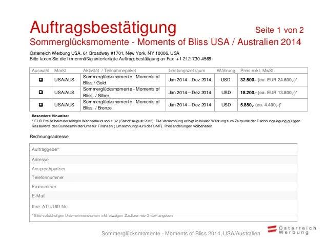 Rechnungsadresse Auswahl Markt Aktivität / Teilnahmepaket Leistungszeitraum Währung Preis exkl. MwSt.  USA/AUS Sommerglüc...