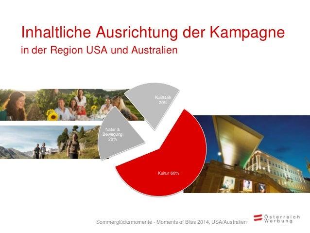 Inhaltliche Ausrichtung der Kampagne in der Region USA und Australien Kultur 60% Natur & Bewegung 20% Kulinarik 20% Sommer...