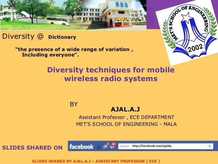 "Diversity  techniques for mobile wireless radio systems <ul><li>Diversity @  Dictionary  </li></ul><ul><li>"" the presence ..."