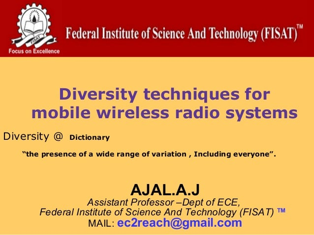 """Diversity techniques for     mobile wireless radio systemsDiversity @    Dictionary   """"the presence of a wide range of var..."""