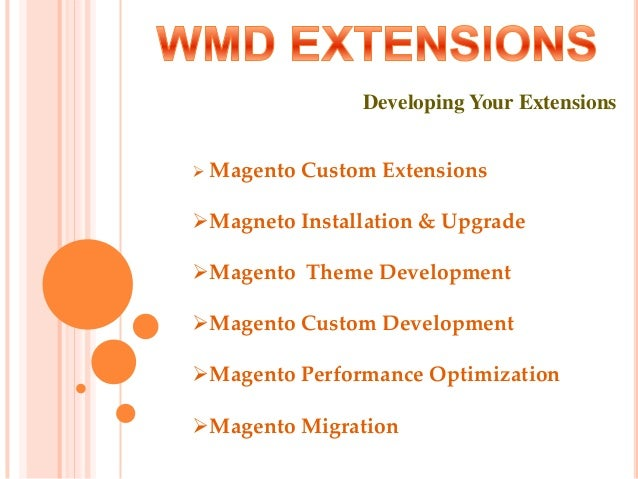 Developing Your Extensions  Magento Custom Extensions Magneto Installation & Upgrade Magento Theme Development Magento...