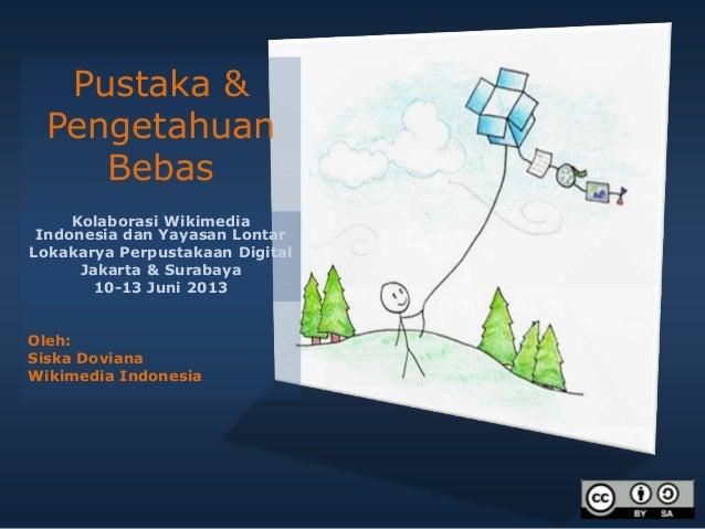 Kolaborasi Wikimedia Indonesia dan Yayasan Lontar Lokakarya Perpustakaan Digital Jakarta & Surabaya 10-13 Juni 2013 Oleh: ...