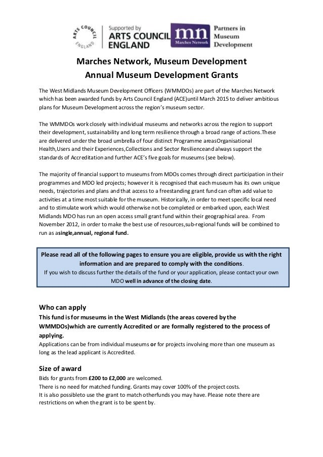 Marches Network, Museum Development                Annual Museum Development GrantsThe West Midlands Museum Development Of...