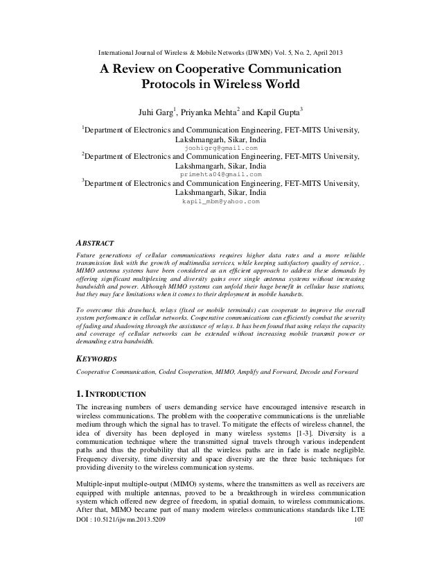 International Journal of Wireless & Mobile Networks (IJWMN) Vol. 5, No. 2, April 2013DOI : 10.5121/ijwmn.2013.5209 107A Re...