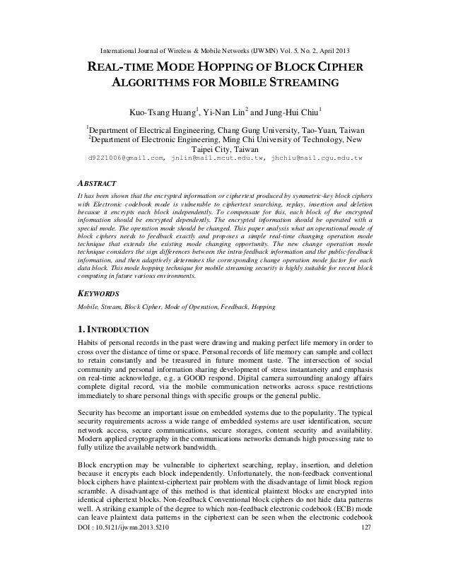 International Journal of Wireless & Mobile Networks (IJWMN) Vol. 5, No. 2, April 2013DOI : 10.5121/ijwmn.2013.5210 127REAL...