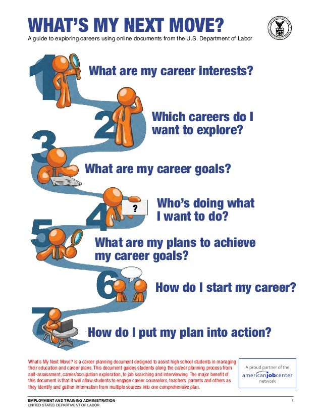 EMPLOYMENT AND TRAINING ADMINISTRATION UNITED STATES DEPARTMENT OF LABOR 1 What's my Next move?A guide to exploring career...