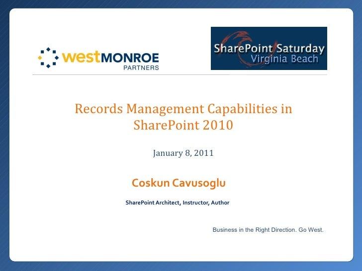 SharePoint Records Management capabilities - West Monroe Partners - Virginia Beach