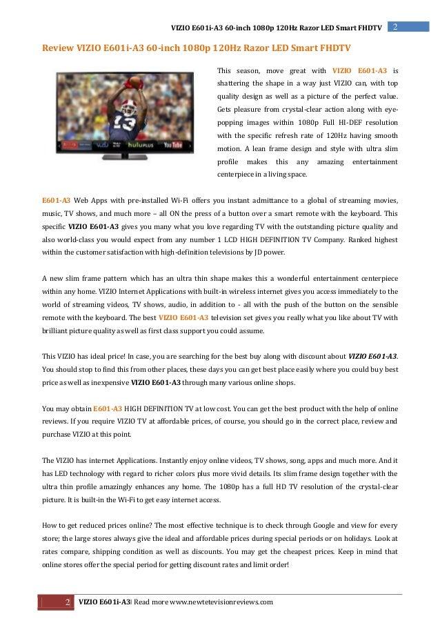 Nice Review VIZIO E601i A3 60 Inch 1080p 120Hz Razor LED Smart FHDTV By [WMP]