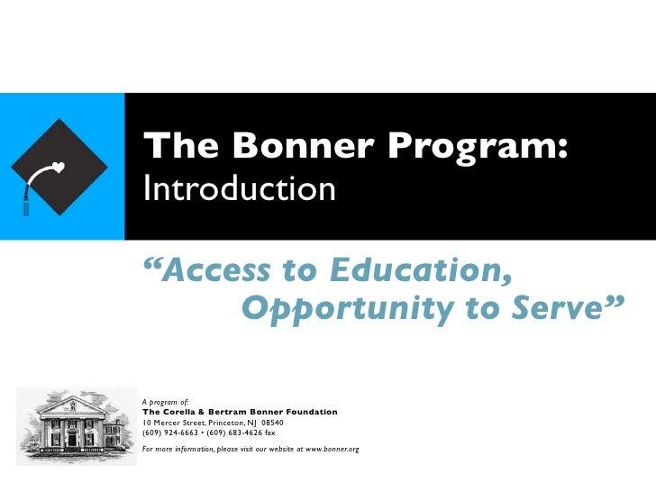 Bonner Introduction Presentation 10-14-10