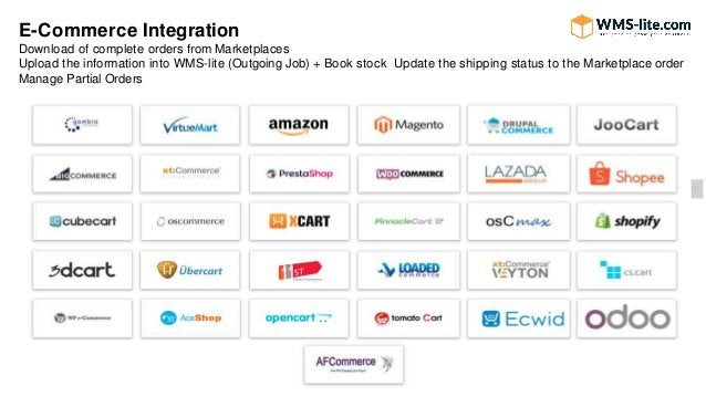 E-Commerce Integration Download of complete orders from Marketplaces Upload the information into WMS-lite (Outgoing Job) +...