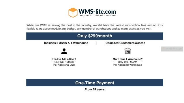 While our WMS is among the best in the industry, we still have the lowest subscription fees around. Our flexible rates acc...