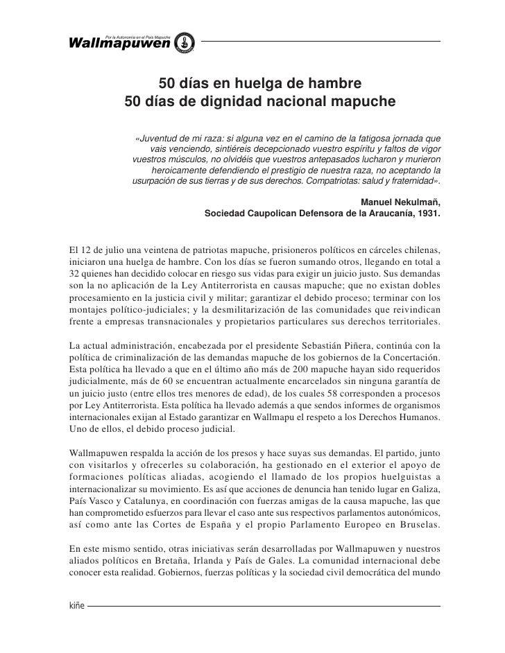 50 días en huelga de hambre              50 días de dignidad nacional mapuche                  «Juventud de mi raza: si al...