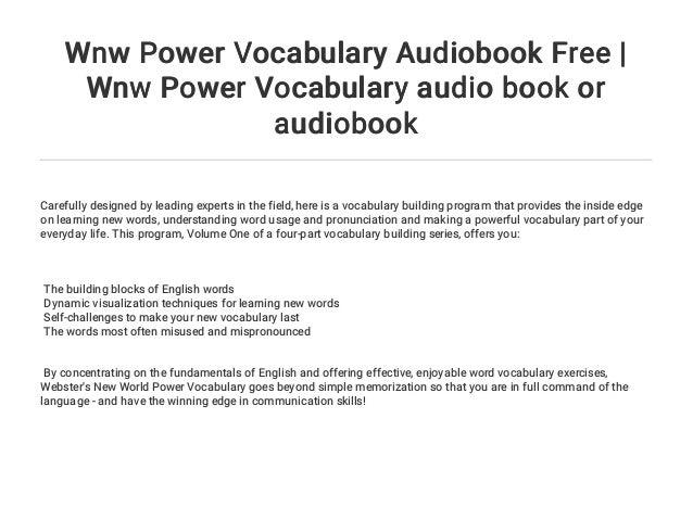 Wnw Power Vocabulary Audiobook Free | Wnw Power Vocabulary