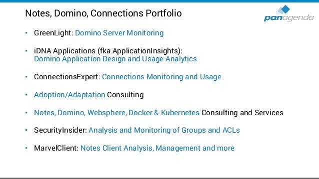 Notes, Domino, Connections Portfolio • GreenLight: Domino Server Monitoring • iDNA Applications (fka ApplicationInsights):...