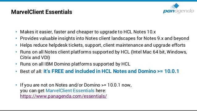 MarvelClient Essentials (cont.) • MarvelClient Essentials - Notes management solution https://support.hcltechsw.com/csm?id...