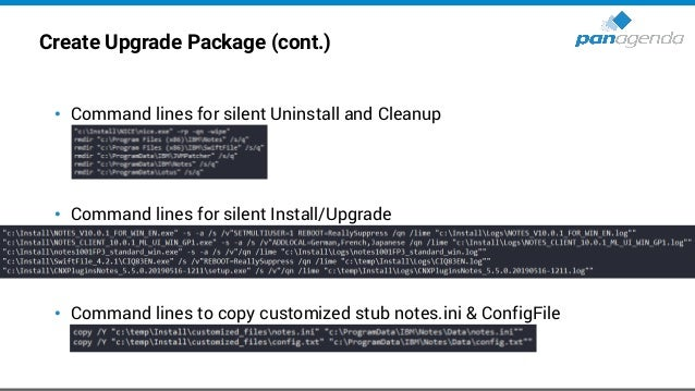 Create Upgrade Package (cont.) • Check the log files (created during installation) for errors for all installed components...