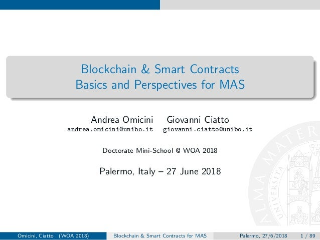 Blockchain & Smart Contracts Basics and Perspectives for MAS