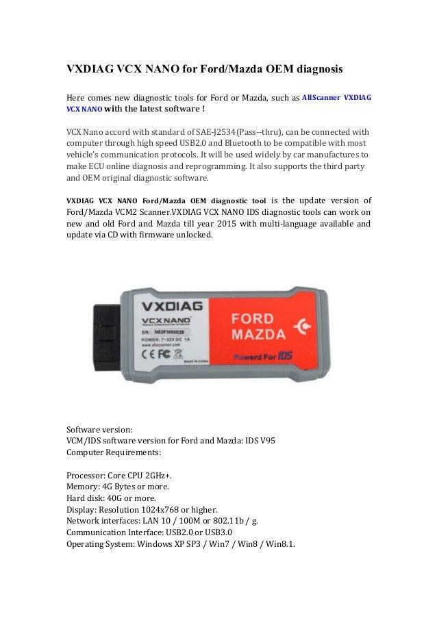 Wobd2 vxdiag vcx nano for ford mazda oem diagnosis