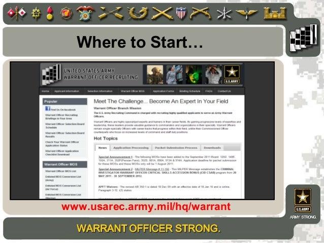 Where To Startu2026 Www.usarec.army.mil/hq/warrant ...
