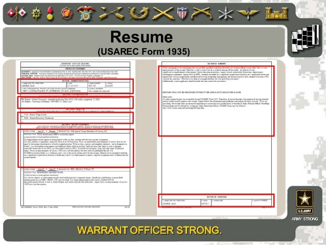 resume usarec form 1935 - Army Warrant Officer Resume Examples