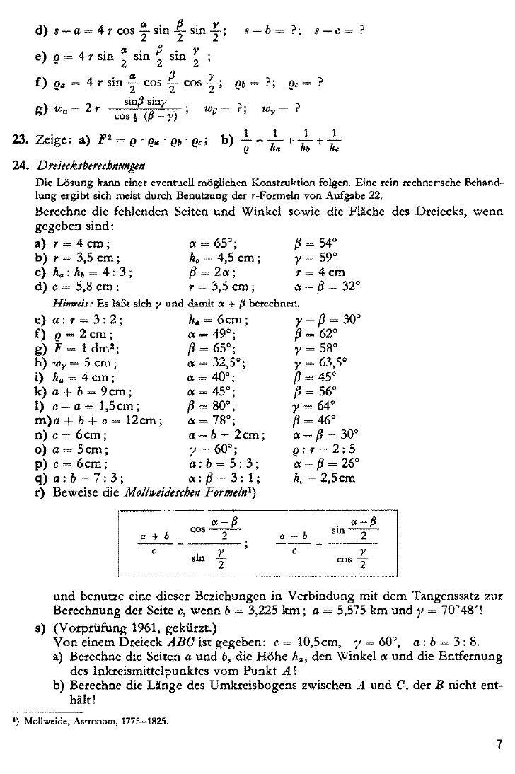 Woerle k. 200 aufgaben aus der trigonometrie mit loesungen 1963