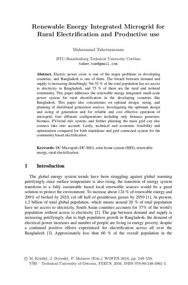 Renewable Energy Integrated Microgrid for Rural Electrification and Productive use Muhammad Taheruzzaman BTU-Brandenburg T...