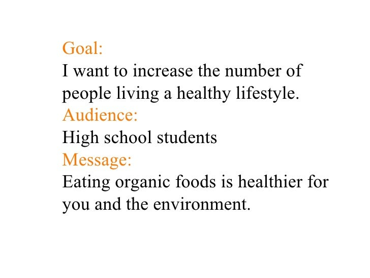 Goal: I want to increase the number of people living a healthy lifestyle. Audience: High school students Message: Eating  ...