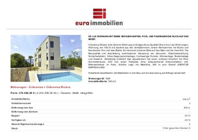 DE LUX WOHNUNG MIT EINEM GROSSEN GARTEN, POOL UND PANORAMISCHE BLICK AUF DAS MEER! Crikvenica Riviera, Drei-Zimmer-Wohnung...