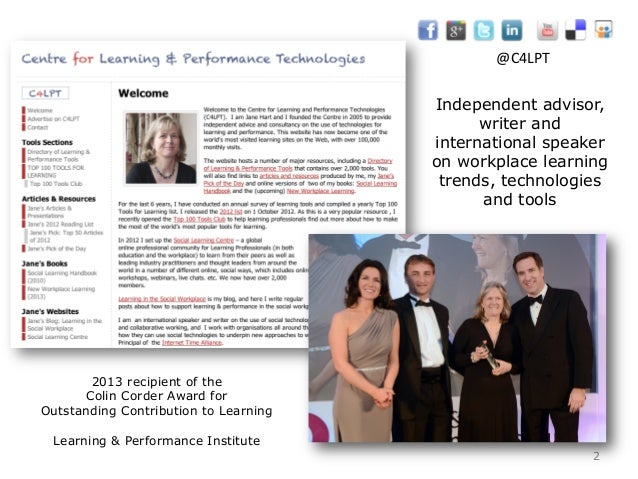 Independent advisor, writer and international speaker on workplace learning trends, technologies and tools 2 2013 recipien...