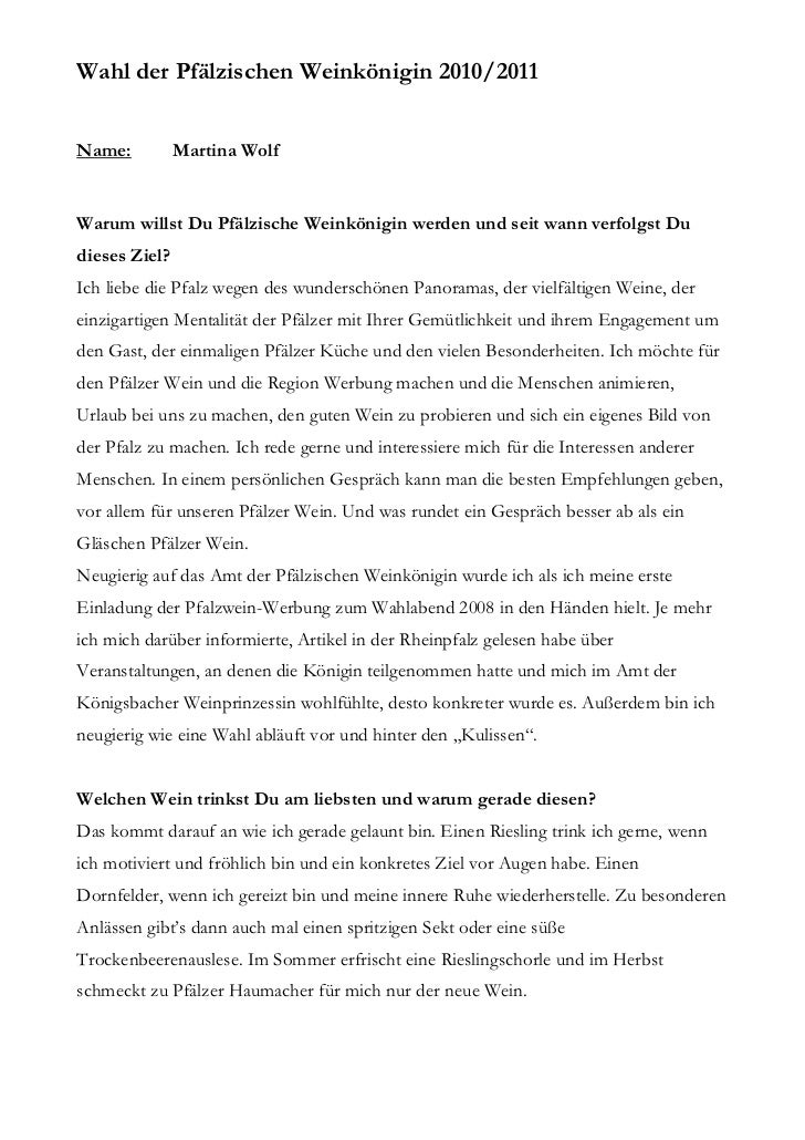 Wahl der Pfälzischen Weinkönigin 2010/2011Name:          Martina WolfWarum willst Du Pfälzische Weinkönigin werden und sei...