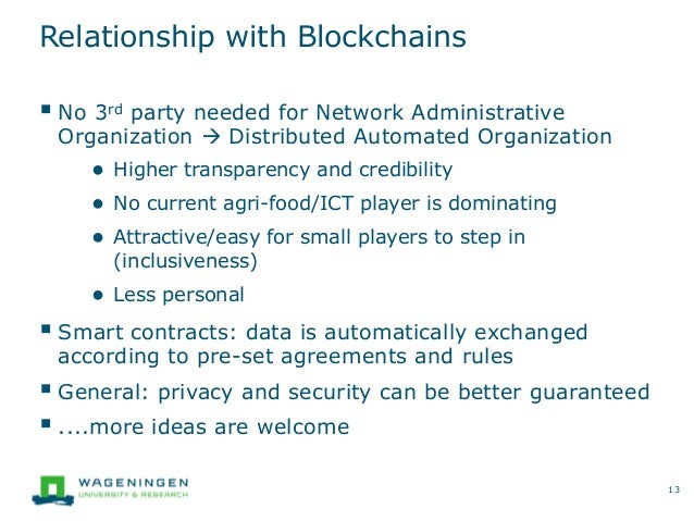 Relationship with Blockchains  No 3rd party needed for Network Administrative Organization  Distributed Automated Organi...