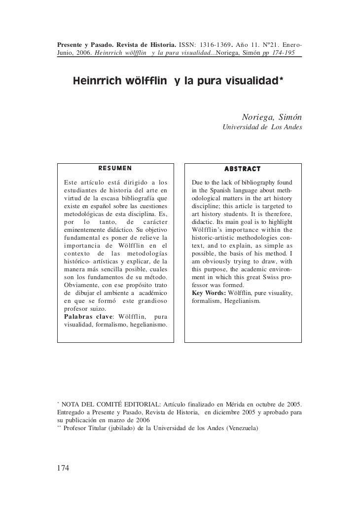 Presente y Pasado. Revista de Historia. ISSN: 1316-1369. Año 11. Nº21. Enero-                  Junio, 2006. Heinrrich wölf...