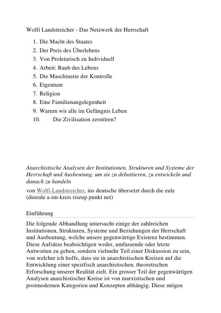 Wolfi Landstreicher - Das Netzwerk der Herrschaft<br />Die Macht des Staates<br />Der Preis des Überlebens<br />Von Prolet...