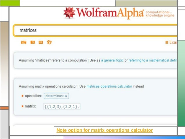 WolframAlpha matrices