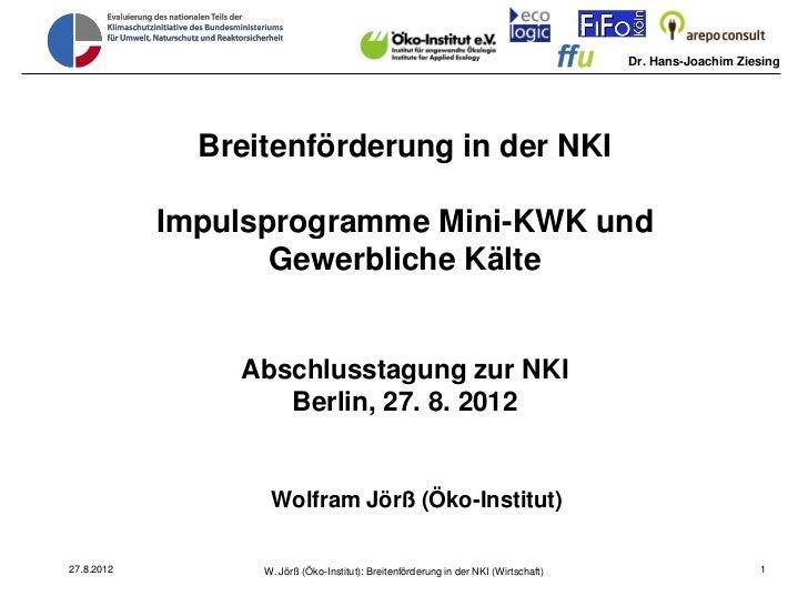 Dr. Hans-Joachim Ziesing              Breitenförderung in der NKI            Impulsprogramme Mini-KWK und                 ...