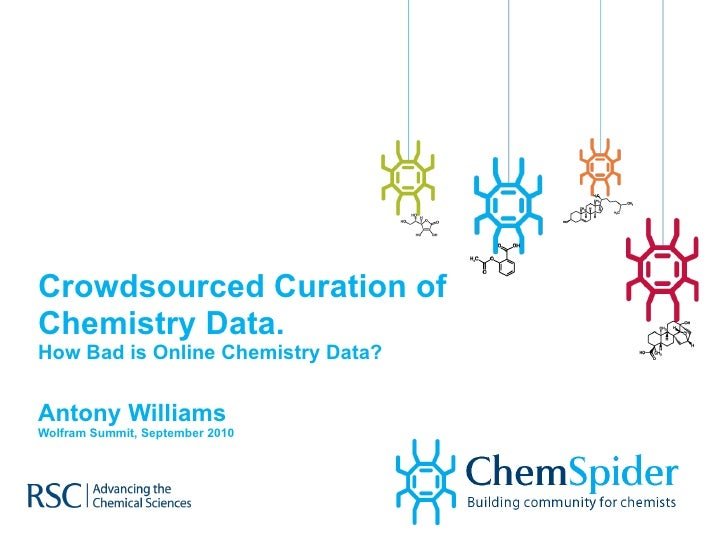 Crowdsourced Curation of Chemistry Data.  How Bad is Online Chemistry Data? Antony Williams Wolfram Summit, September 2010