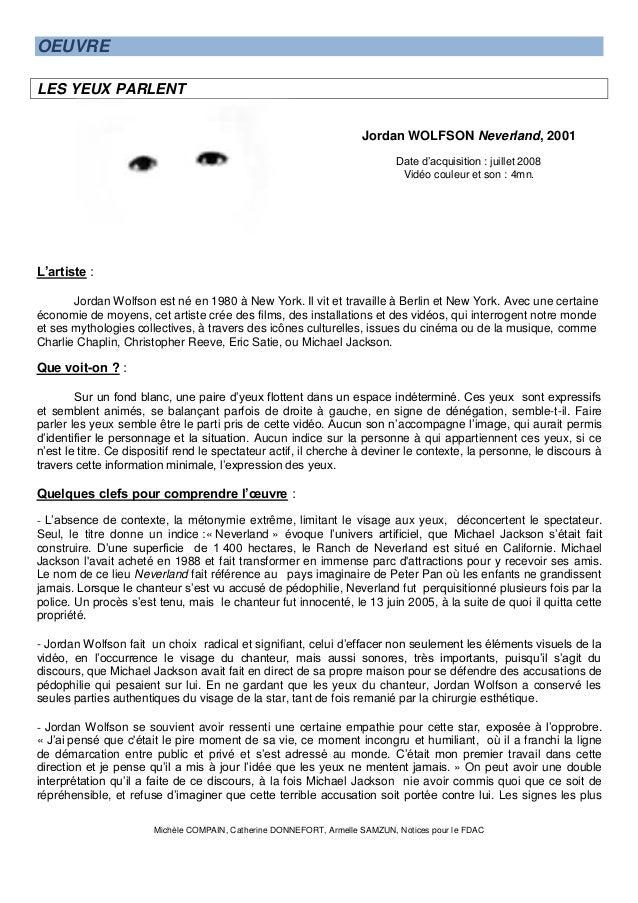 Michèle COMPAIN, Catherine DONNEFORT, Armelle SAMZUN, Notices pour le FDAC  OEUVRE LES YEUX PARLENT  Jordan WOLFSON Neverl...