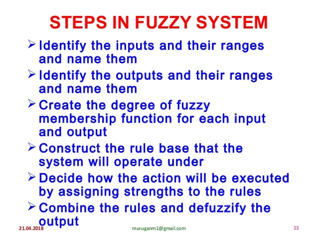 21.04.2018 muruganm1@gmail.com 13 STEPS IN FUZZY SYSTEM  Identify the inputs and their ranges and name them  Identify th...