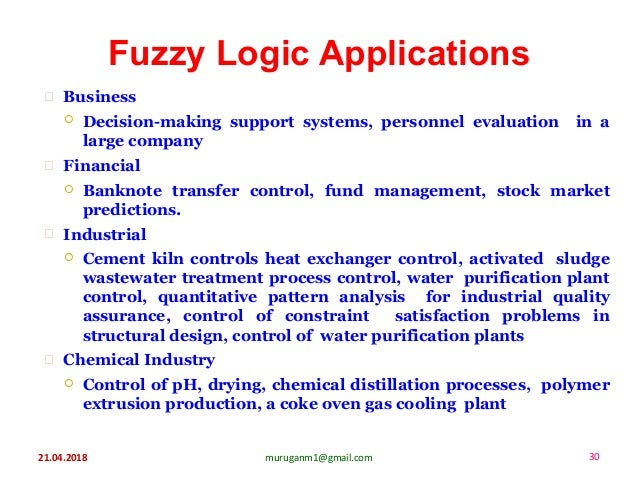 Fuzzy Logic Applications 21.04.2018 30muruganm1@gmail.com  Business  Decision-making support systems, personnel evaluati...