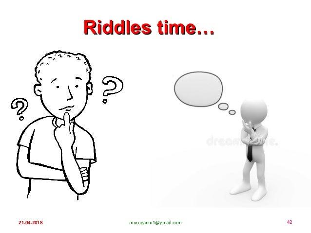 21.04.2018 muruganm1@gmail.com 42 Riddles time…Riddles time…